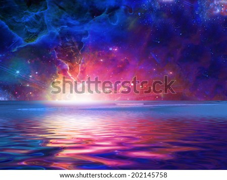 Surreal Sea Elements of this image furnished by NASA - stock photo