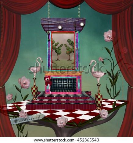 Surreal stage with stuff inspired by Alice in wonderland fairytale - 3D and digital painted illustration