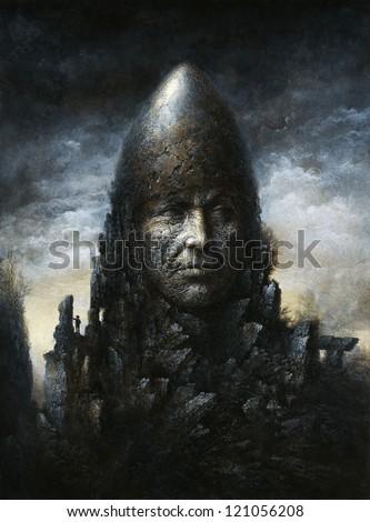 Surreal stone head - stock photo