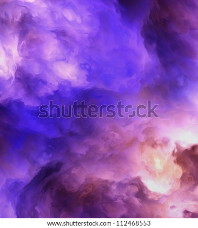 Surreal, stormy clouds shading from dark purples and reds to light blues and yellows symbolizing a range of concepts such as creation, the birth of stars, or an ominous maelstrom.