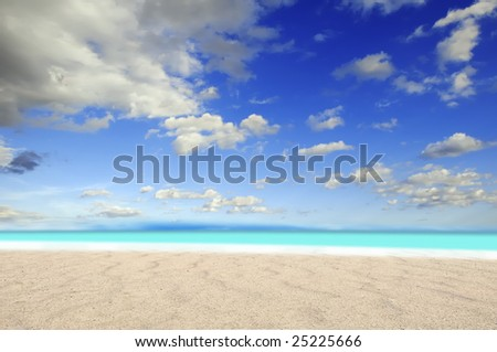 surreal summertime on desert beach whit fantastic clouds sky - stock photo