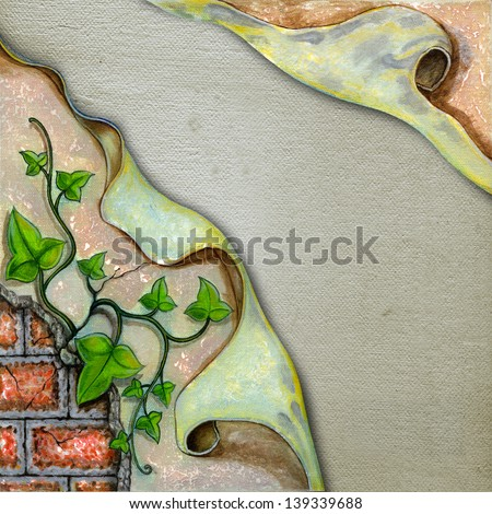 Surreal wall. Acrylic color painting on canvas. - stock photo