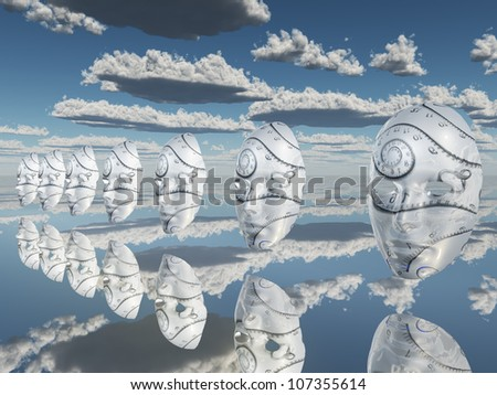 Surreal white faces float about reflecting sureface - stock photo