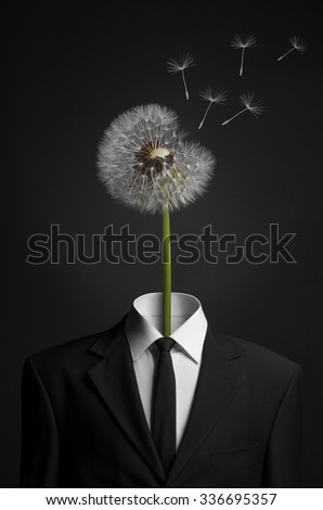 Surrealism and business topic: dandelion flower head instead of a man in a black suit on a dark background in the studio