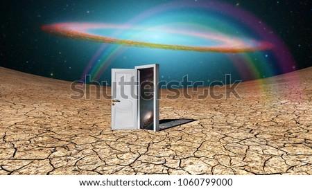 Wonderful Door To Another Dimension. 3D Rendering
