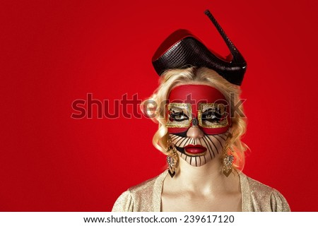 Surrealism Salvador Dali Room at Woman Face. Realistic picture on the beautiful woman face. Modern art, conceptual idea.  Shoe black hat, stage, copy Marilyn Monroe, extraordinary, crazy fashion.  - stock photo
