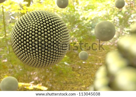 Surrealistic silver spheres in forest