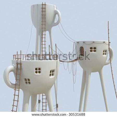 Surrealistic tea cups - stock photo