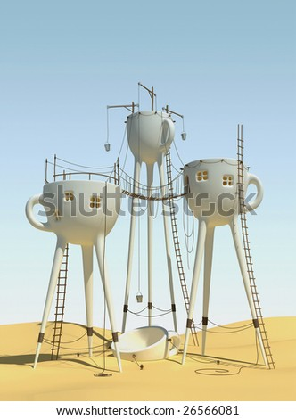 Surrealistic tea cups architecture forms - stock photo
