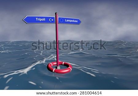 Surrealistic view of signpost on the sea - a guidepost indicating the directions on the waterway of migration of refugees from northern Africa to Europe.  - stock photo