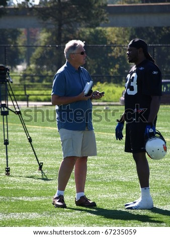 SURREY, BRITISH COLUMBIA / CANADA - 30 SEPTEMBER : B.C. Lions Football player of British Columbia Vancouver gives interview on the practise on 30 september, 2010 at training facility in Surrey Canada