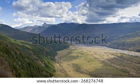 Surrounding landscape and mountains near Mt. St. Helen's Washington state. - stock photo