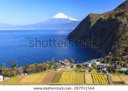 Suruga Bay and Mt. Fuji seen from Nishiizu Ita, Shizuoka, Japan - stock photo