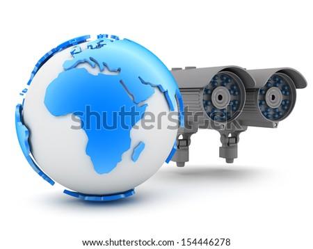 Surveillance camera and earth globe - stock photo