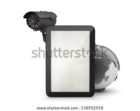 Surveillance camera and tablet computer - stock photo