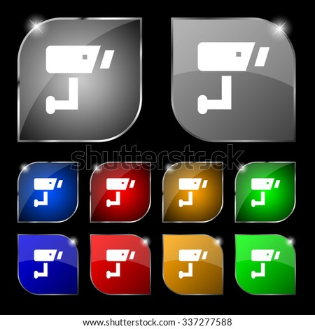 Surveillance Camera icon sign. Set of ten colorful buttons with glare. illustration - stock photo