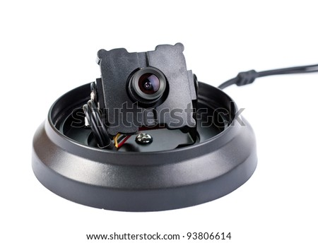 Surveillance camera isolated on white