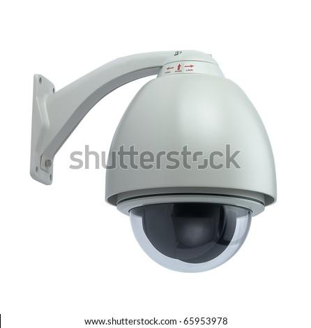 Surveillance camera isolated on white background - stock photo