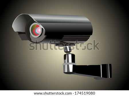 Surveillance camera viewed from the side - stock photo