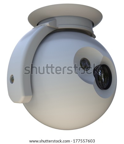 Surveillance camera with mount isolated on white