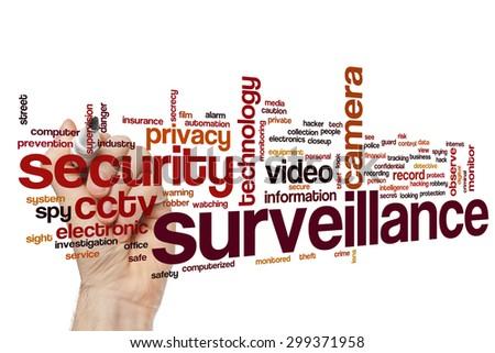 Surveillance concept word cloud background - stock photo
