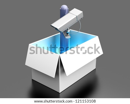 Surveillance out of the box. 3d rendered illustration. - stock photo
