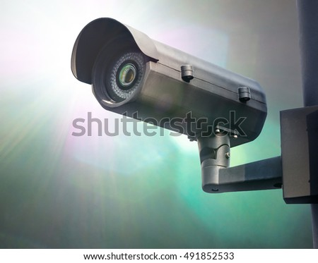 Surveillance Security Camera or CCTV in for protection system in the pole