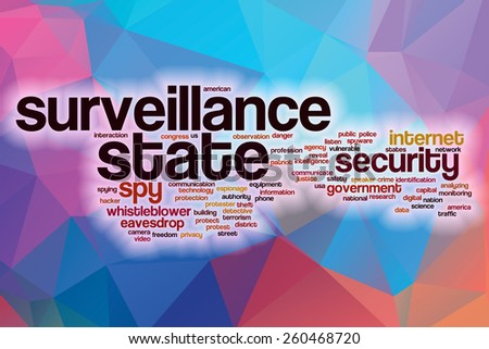 Surveillance state word cloud concept with abstract background - stock photo