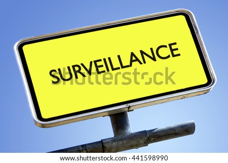 SURVEILLANCE word on roadsign with yellow background