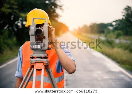 Survey By Theodolite Concept Civil Engineer Checking Surveyor Equipment Tacheometer Or Outdoors At Construction