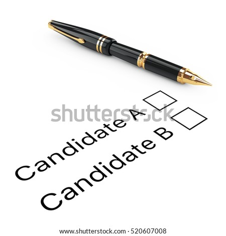 Survey Concept. Candidate A or B Checklist with Golden Fountain Writing Pen on a white background. 3d Rendering