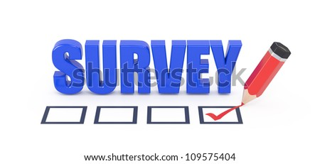 Survey 3d word and pencil placing ticks in check box. - stock photo