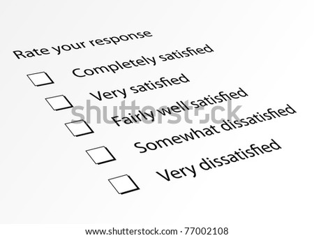 Survey form for customer satisfaction response