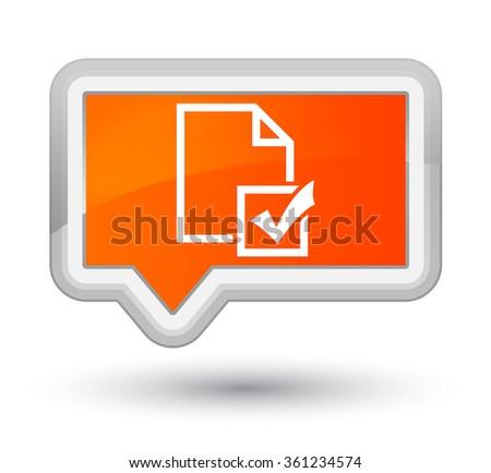 Survey icon orange banner button - stock photo