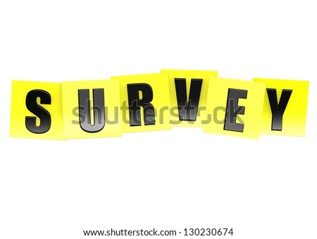 Survey in yellow note - stock photo