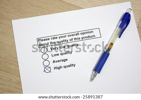 Survey of product quality concept - stock photo