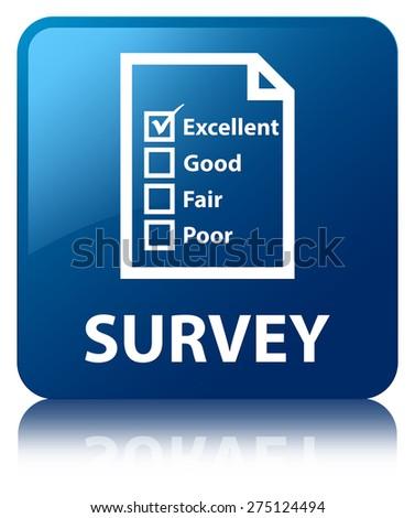 Survey (questionnaire icon) blue square button - stock photo