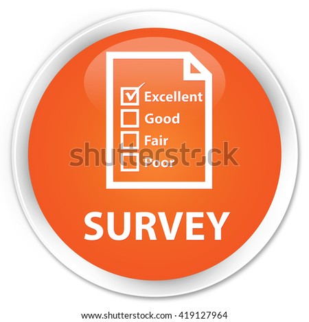 Survey (questionnaire icon) orange glossy round button