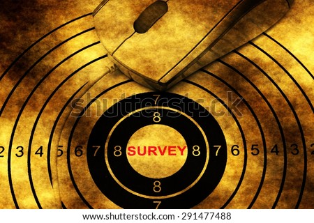 Survey target and computer mouse concept - stock photo