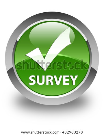 Survey (validate icon) glossy soft green round button - stock photo