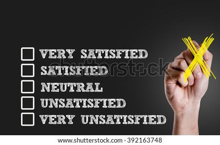 Survey with Blank space: Very Satisfied - Satisfied - Neutral - Unsatisfied - Very Unsatisfied - stock photo