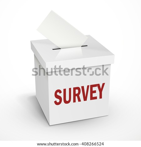survey word on the 3d illustration white voting box isolated on white background - stock photo