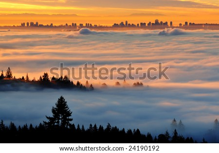 Surveying Downtown Vancouver from Cypress Lookout in Foggy Morning - stock photo
