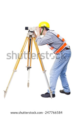 Surveyor worker making measurement  and isolated on white - stock photo