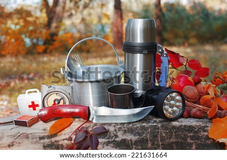 Survival  equipment in the forest. - stock photo