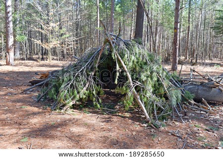 "Survival ""Leanto"" Shelter at campsite in the forest - stock photo"