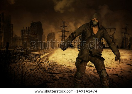 Survivor Man in apocalyptic scenario - stock photo