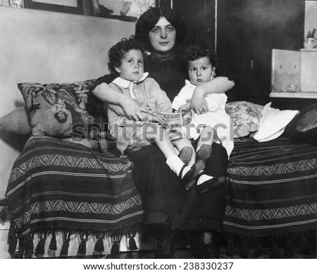 Survivors of the sinking of the Titanic, Louis and Michel Navratil, of Nice, France, on their mother's lap, 1912.