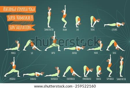 Surya namaskar B.  Sun salutation complex. Ashtanga vinyasa yoga. Yoga poses. Asana. - stock photo