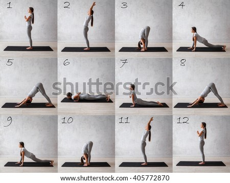 Surya namaskar. Sun salutation complex. Woman practicing advanced yoga. A series of yoga poses - stock photo